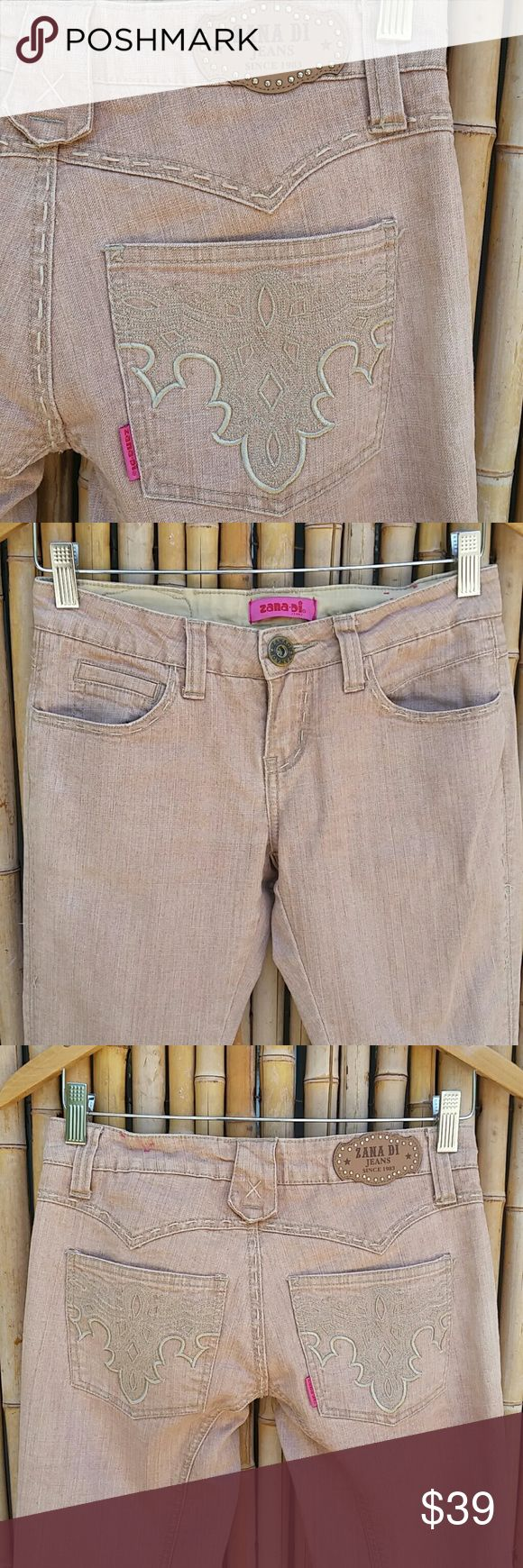 "ZANA•DI JEANS Washed Peach Bootcut Denim! Beautiful color, top stitching,  embroidered back pockets, 5 pocket styling, unique details!   Label size 3 Waistband 14.5"" Inseam 31"" Rise 7.5"" 90% cotton /9% polyester /1% spandex  Note: small bleach spot on leg and some top stitching coming loose. Not noticeable when being worn but I wanted to note it.  💲Bundle & Save!💲😀 🚫No Trades/No Holds 🙄😘  🔘Use OFFER button to negotiate👍🤑 ❔Please Ask ?'s BEFORE you Buy🤔😃 💕Thank you for shopping my…"