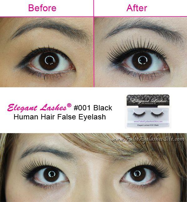 false eyelashes before and after - Elegant Lashes #001 Black Human Hair False Eyelashes