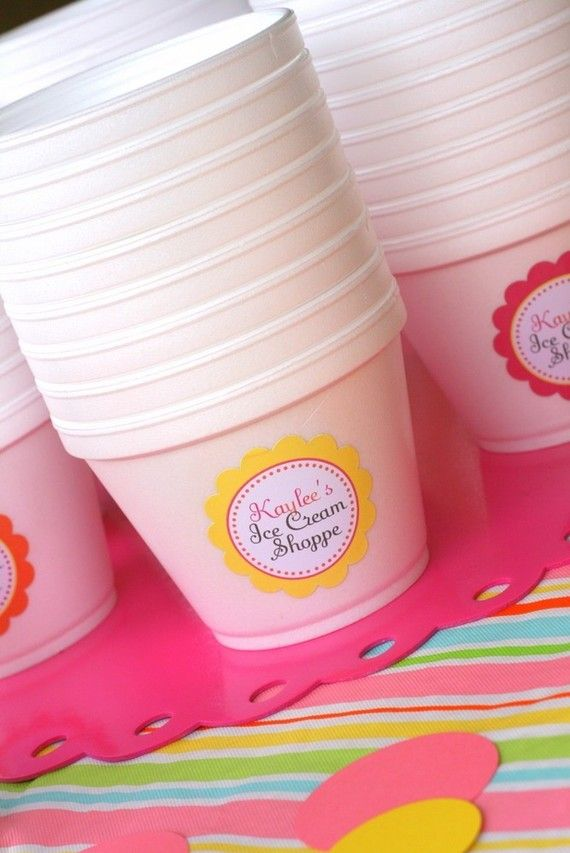 Ice Cream Sundae party: This is from a site for kids parties but I love these for an ice cream sundae buffet.