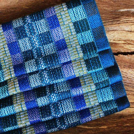 Blue Plaid Scarf  Handwoven Scarf  Cotton by ArtisansintheAndes