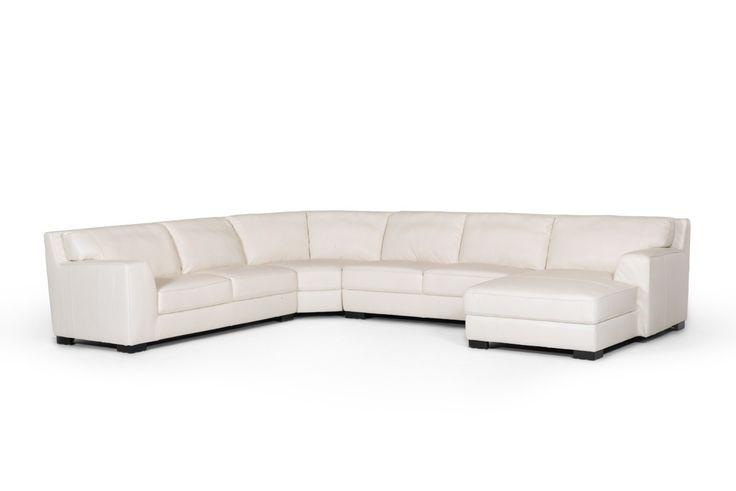 Divani Casa Brevard Modern White Leather Sectional Sofa - VGKK5195-WHT