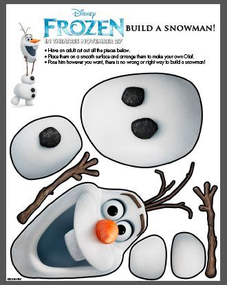 "Disney Frozen Olaf Printable for cute Cut & Paste activity or use as a template to create a ""Pin the Carrot on Olaf"" http://www.sistersshoppingonashoestring.com/disney-frozen-olaf-printable"