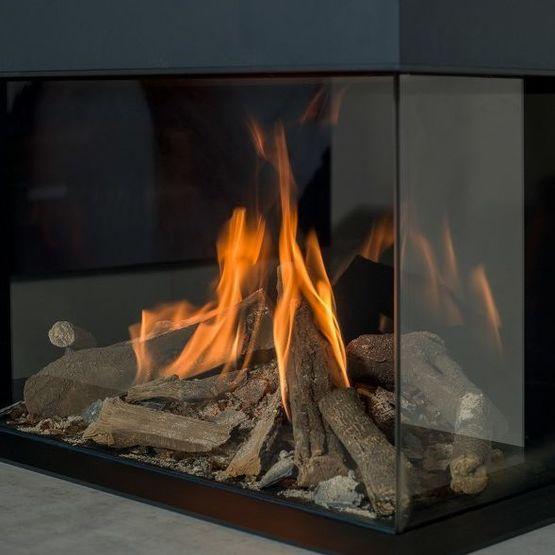 Foyer cheminée gaz effet feu de bois