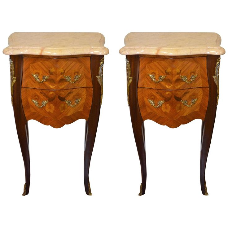 Pair Of Louis XV Style Inlay Wood Side Tables With Marble Top