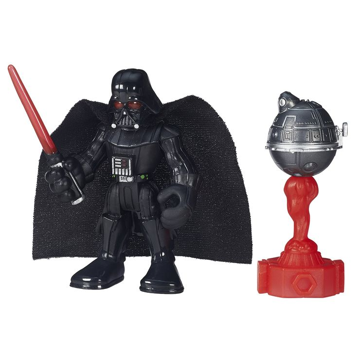 Playskool Heroes Galactic Heroes Star Wars Darth Vader. Sized right for smaller hands. Practice with Jedi training remote. Twist figure to swing lightsaber. Includes figure and Sith training droid.