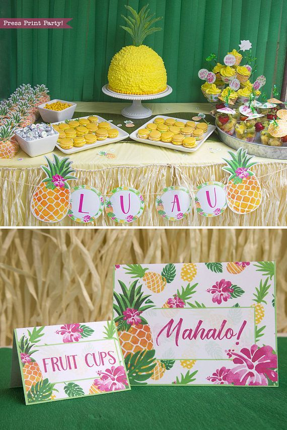 Party like a pineapple this summer with a whole set of pineapple   printables to make your party fabulous. Give a different twist to your   birthday Luau.  Print as many as you like for one low price! This   ultimate set comes with everything you need.  INSTANT DOWNLOAD!! Click   to buy on ETSY.  Pineapple Party Ideas. Pineapple party theme. Pineapple party   decorations. Luau party decorations.