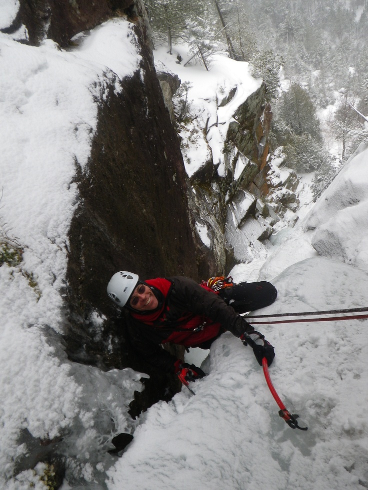 Dr. Tom Denham climbing the last pitch of the 225 ft. route of Multiplication Gully - February 2013.