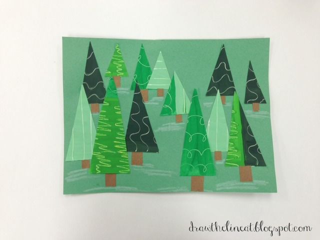 from Draw The Line At blog: value/texture pine tree collage