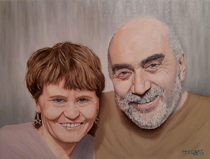 Milada & Luboš by Peco Art ...Oil on canvas, 40x30cm...