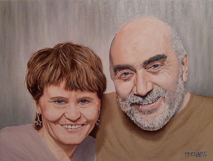 Milada & Luboš by Peco Art ...Oil on canvas, 40x30cm...