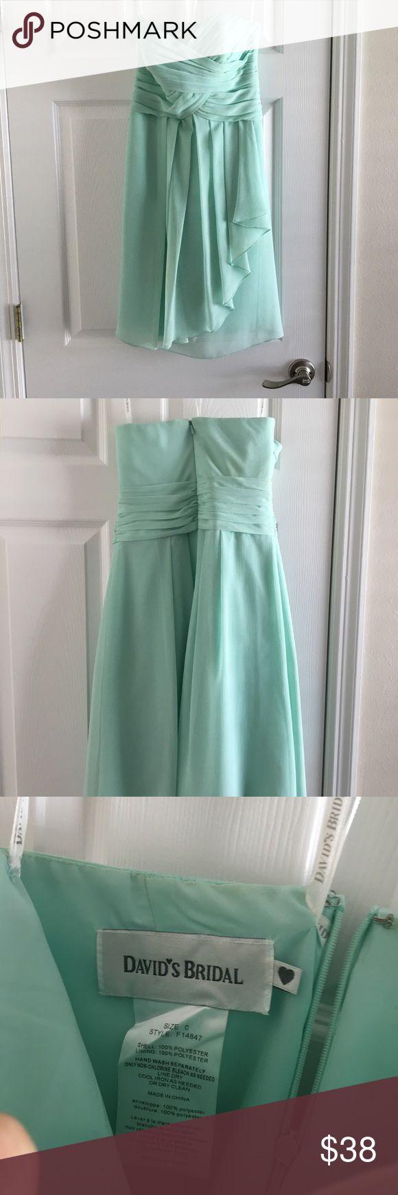 David's Bridal Mint Bridesmaid Dress Strapless, short mint colored bridesmaid dress. No alterations. Worn once. Like new. David's Bridal Dresses Wedding
