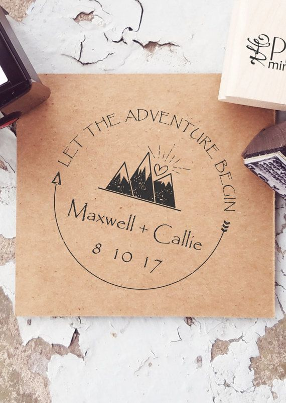 Mountain Stamp, Mountain Wedding, Outdoor Stamp, Adventure Wedding, Custom Mountain Stamp, Wonderlust, Outdoor Rustic Wedding  • Each stamp is custom made just for you • Image size varies - see stamp type drop down • Thousands of crisp impressions • Ships in 2-3 business days • Laser engraved high-grade rubber dies • Purchase a DIGITAL IMAGE of your stamp –clink link below https://www.etsy.com/listing/186334605/a-digital-image-of-your-stamp  :::::::::::::::::::::::::::::::::::::::::Stamp…
