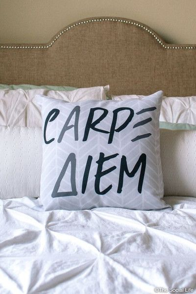 Maybe we can find cute AXiD pillows on Amazon for the living room?!  Alpha Xi Delta cArpΞ Δiem Pillow
