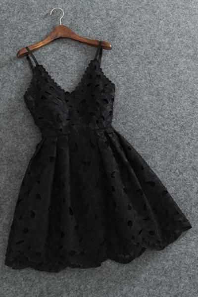 Cute Spaghetti Straps V Neck Black Lace Short Homecoming Dress,Mini Cocktail Dress,N370