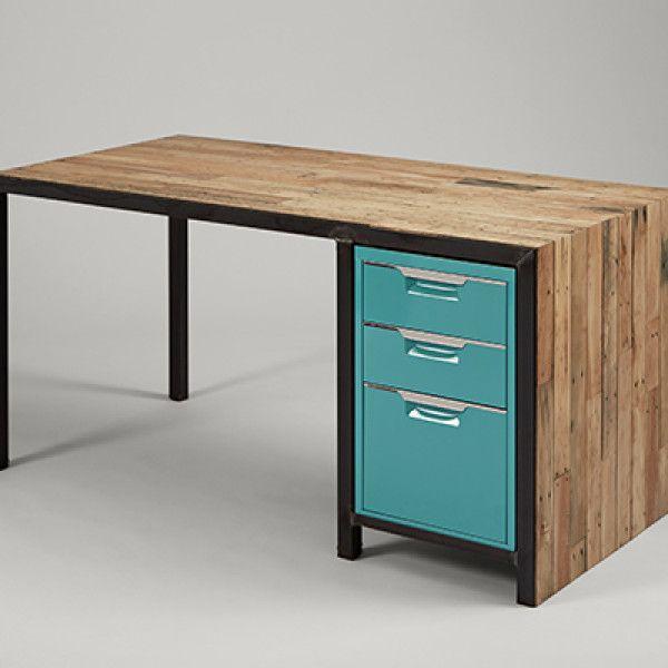 Reclaimed Wood Waterfall Desk, Salvaged Wood Furniture
