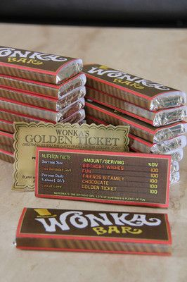 Willy Wonka Golden Ticket Candy BAR Wrapper Invitation Party Supplies Avail | eBay