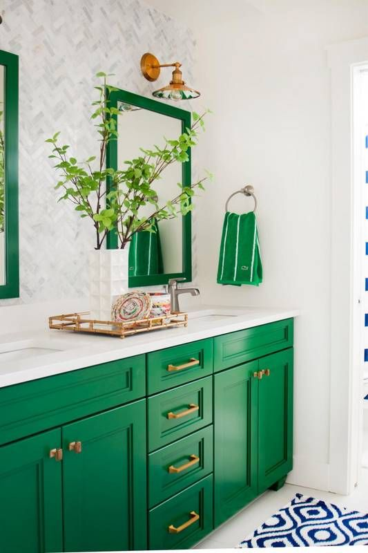 bold green cabinets