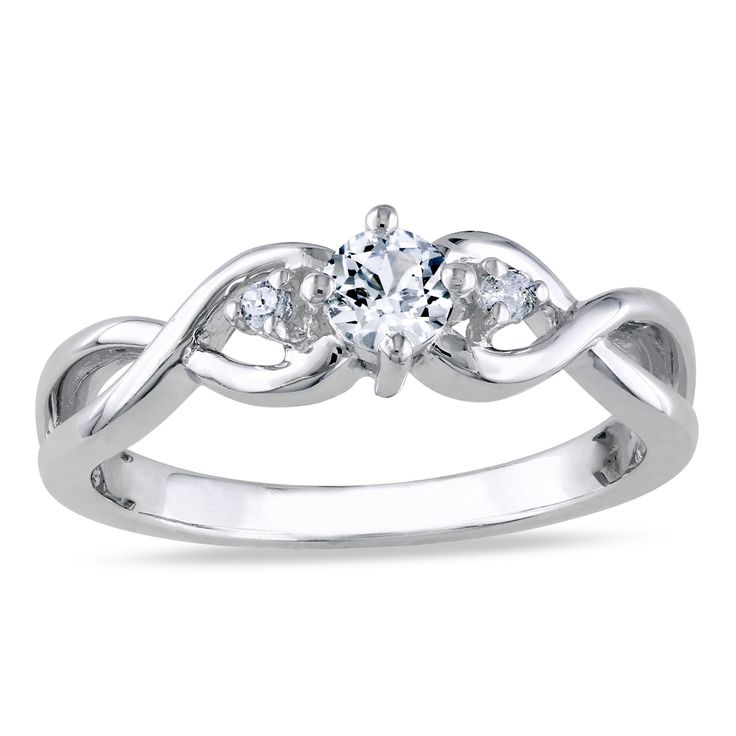 <li>Created white sapphire and diamond 3-stone infinity ring</li><li>Sterling silver jewelry</li><li><a href='http://www.overstock.com/downloads/pdf/2010_RingSizing.pdf'><span class='links'>Click here for ring sizing guide</span></a></li>