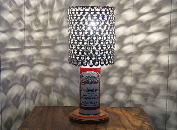 Vintage Budweiser Beer Can Lamp With Pull Tab Lamp Shade