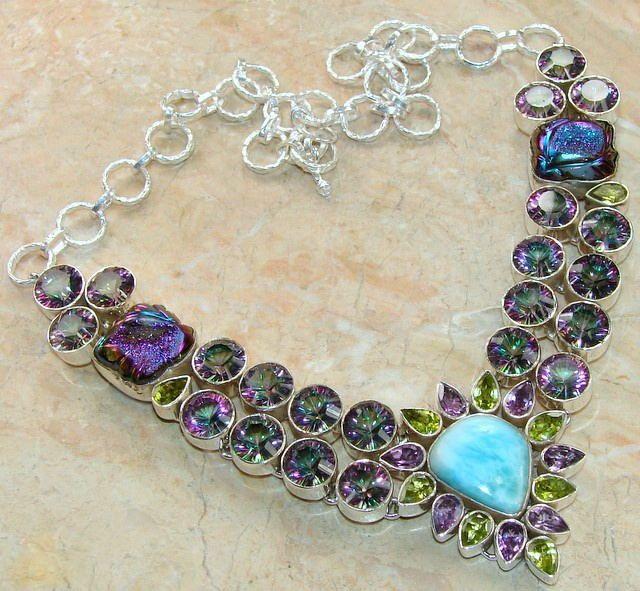 Mystic Quartz & Larimar Statement Necklace : 925 Mystic Quartz Necklace