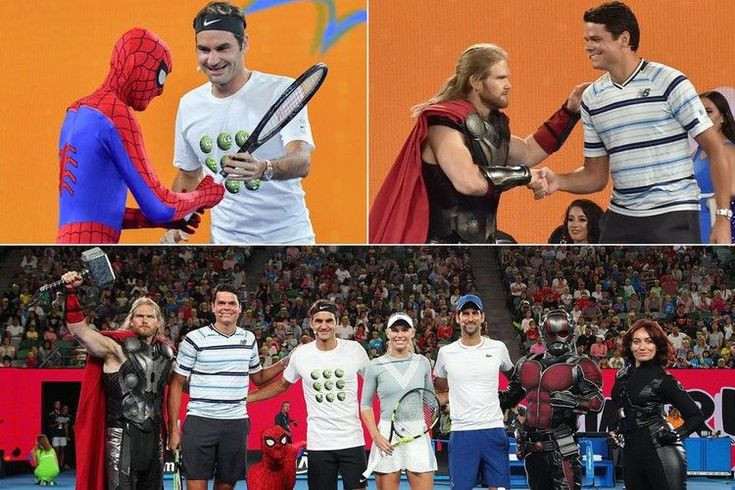 Roger Federer plays tennis with Spider-Man… while Milos Raonic practices with Thor