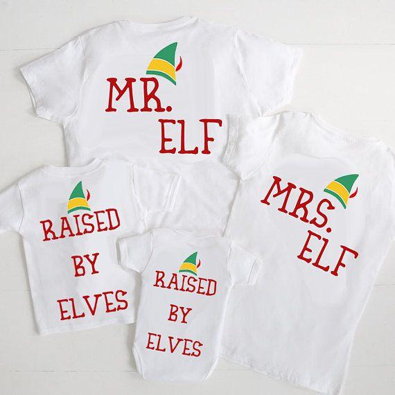 Mr Elf Mrs Elf Family T-shirt set  parent baby T-shirts