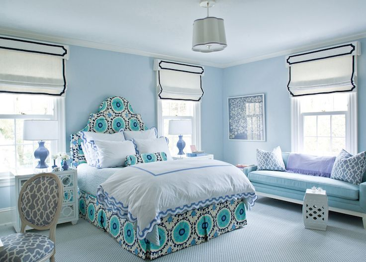 Bedroom With Blue Walls, Contemporary, Bedroom, Benjamin Moore Mountain  Mist, Ashley Whittaker