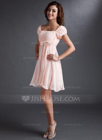 Empire Square Neckline Short/Mini Chiffon Satin Homecoming Dress With Ruffle Beading Sequins Bow(s) (022021033)