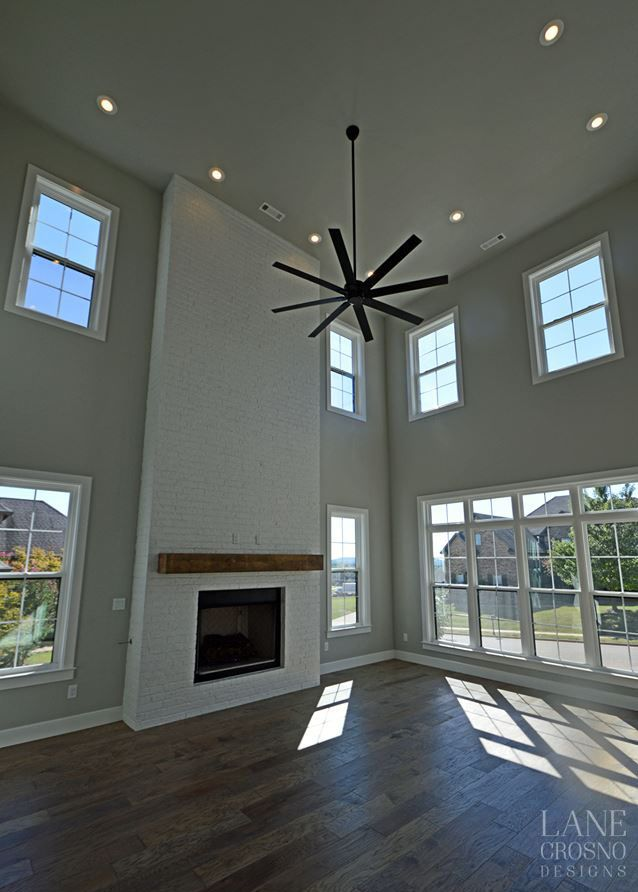 Contemporary Living Room Tall Ceilings Two Story Living