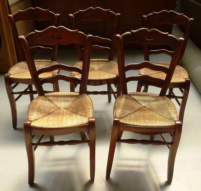 Online veilinghuis Catawiki: Set van vijf Franse snorren stoelen - 19e eeuw