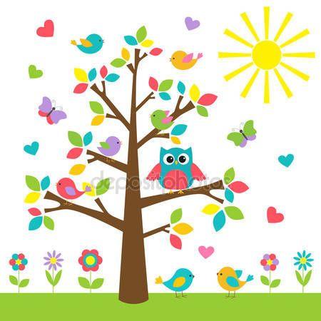 Árbol colorido con lindo buho y aves — Vector de stock © Marta17 #25009881