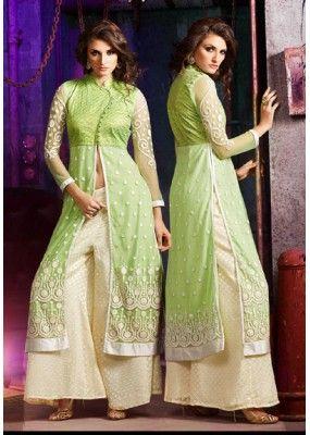 Ethnic Wear Green & Cream Silky Net Palazzo Suit- 7005-B