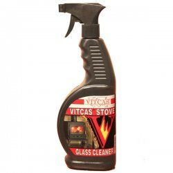 Vitcas Stove Glass Cleaner  http://www.woodburningstovesandflues.co.uk/stove-accessories-stove-cleaning-stove-gloves/vitcas-stove-glass-cleaner