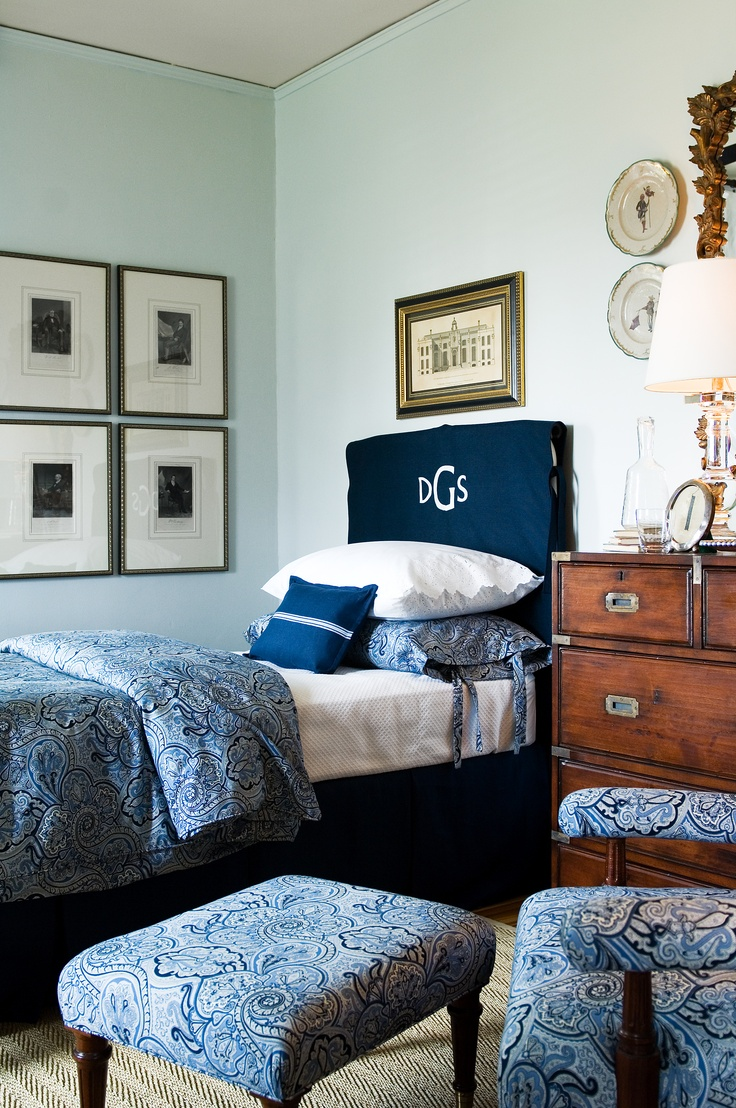 Monogram Headboard (removable white denim + navy piping and monogram)