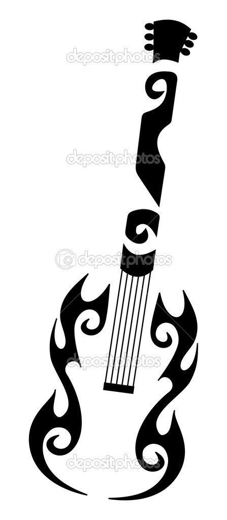 Tribal+Guitar+Tattoo | Tribal tattoo of a guitar — Vector de hurgem