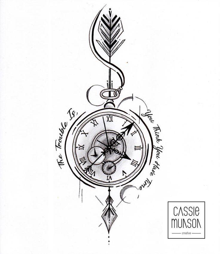 Pocket Watch Tattoo Commission by cassiemunson-art