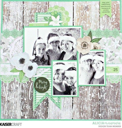 "Kaisercraft October 2017 Blog Challenge!  ""Merrry and Bright"" layout by Alicia McNamara Design Team member for Kaisercraft Official Blog . Alicia used the October ""Mint Wishes"" collection for her layout. Learn more at kaisercraft.com.au -  Wendy Schultz - Kaisercraft Projects."