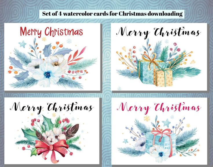 Set of 4 Hand Painted Watercolour Christmas Cards