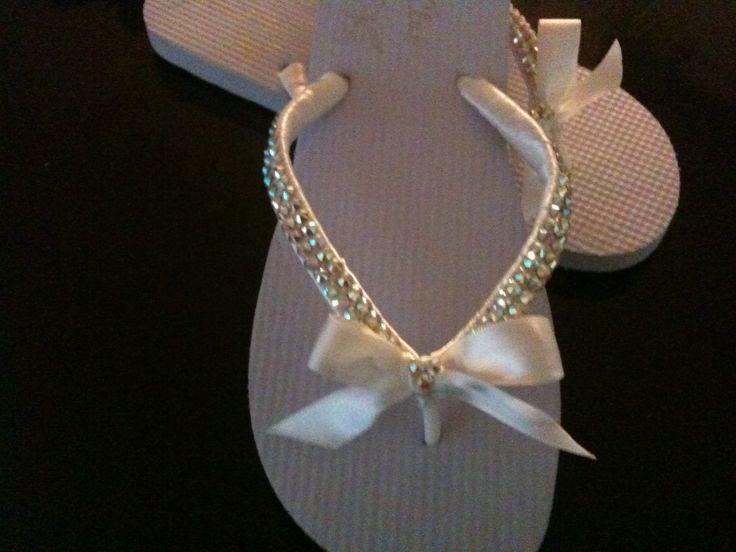 Bridal swarovski rhinestone hand embellished flipflops ...