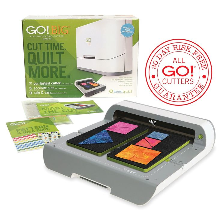 """Introducing the GO! Big Electric Fabric Cutter Starter Set!Our fastest cutter – cut two 6"""" wide dies side by side at the press of a button!Accurately cuts up to 6 layers of fabric at a timeSafe & Easy – Electric function maximizes efficiency and alleviates hand and arm strainCompatible with all%"""