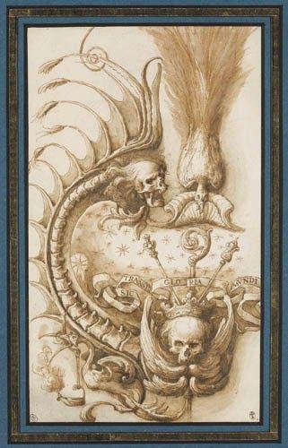 Cartiglio macabro (Parigi, Louvre, Cabinet des Dessin)