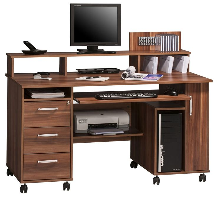 Maja Exeter Mobile Office Walnut Computer Workstation 9475 From A Selection Of Desks With Wheels