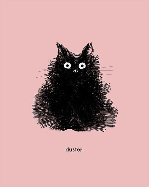 Cute Black Cat Drawing Art Illustration Pink – Duster