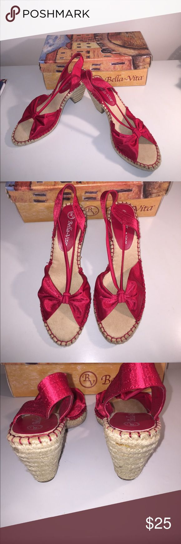 NEW Sz 8 1/2 Bella Vita Red Satin & Jute NEW Without Tag Sz 8 1/2 Bella Vita Red Satin & Jute Side & Heel Tag says 9 N Fits smaller Bella Vita Shoes Sandals