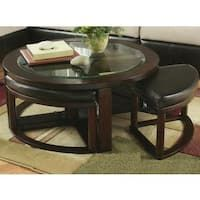 Cylina Solid Wood Glass Top Round Coffee Table with 4 Stools