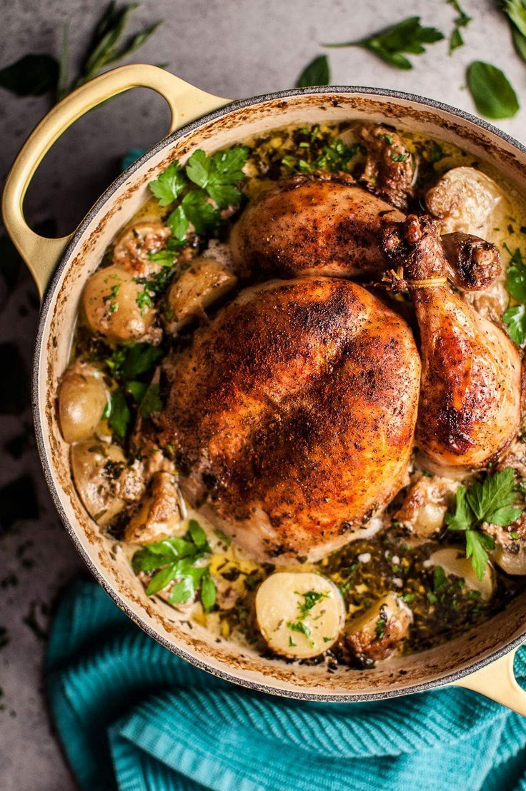 This creamy lemon and herb pot roasted whole chicken is simple to make, decadent, and bursting with fresh flavors.