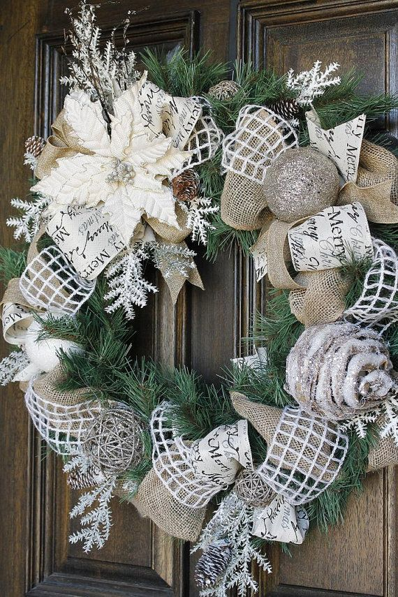 Christmas wreath, Burlap wreath, poinsettia wreath, Shabby Chic wreath on Etsy, $150.00