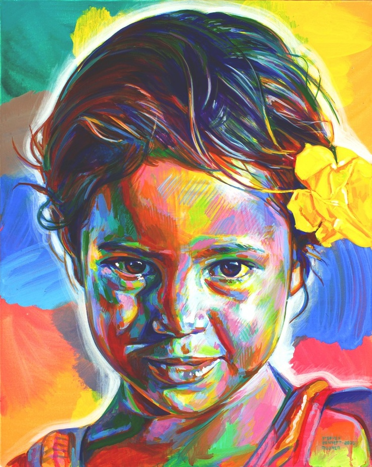 """Artist Stephen Bennett travelled around the world to paint the portraits of indigenous people.  """"Bennett's portraits draw attention to a sobering duality: the natural beauty inherent to these girls and their invisibility."""" Read on for more."""