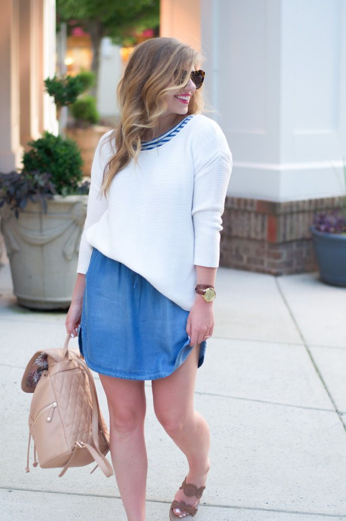 Chambray Skirt // Quilted Neutral Backpack