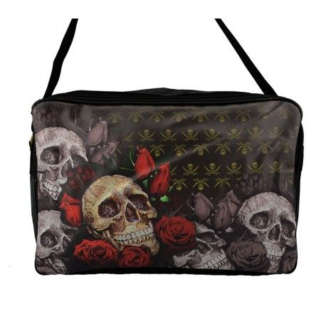 Stor taske med dødningehoveder og røde roser - 3116